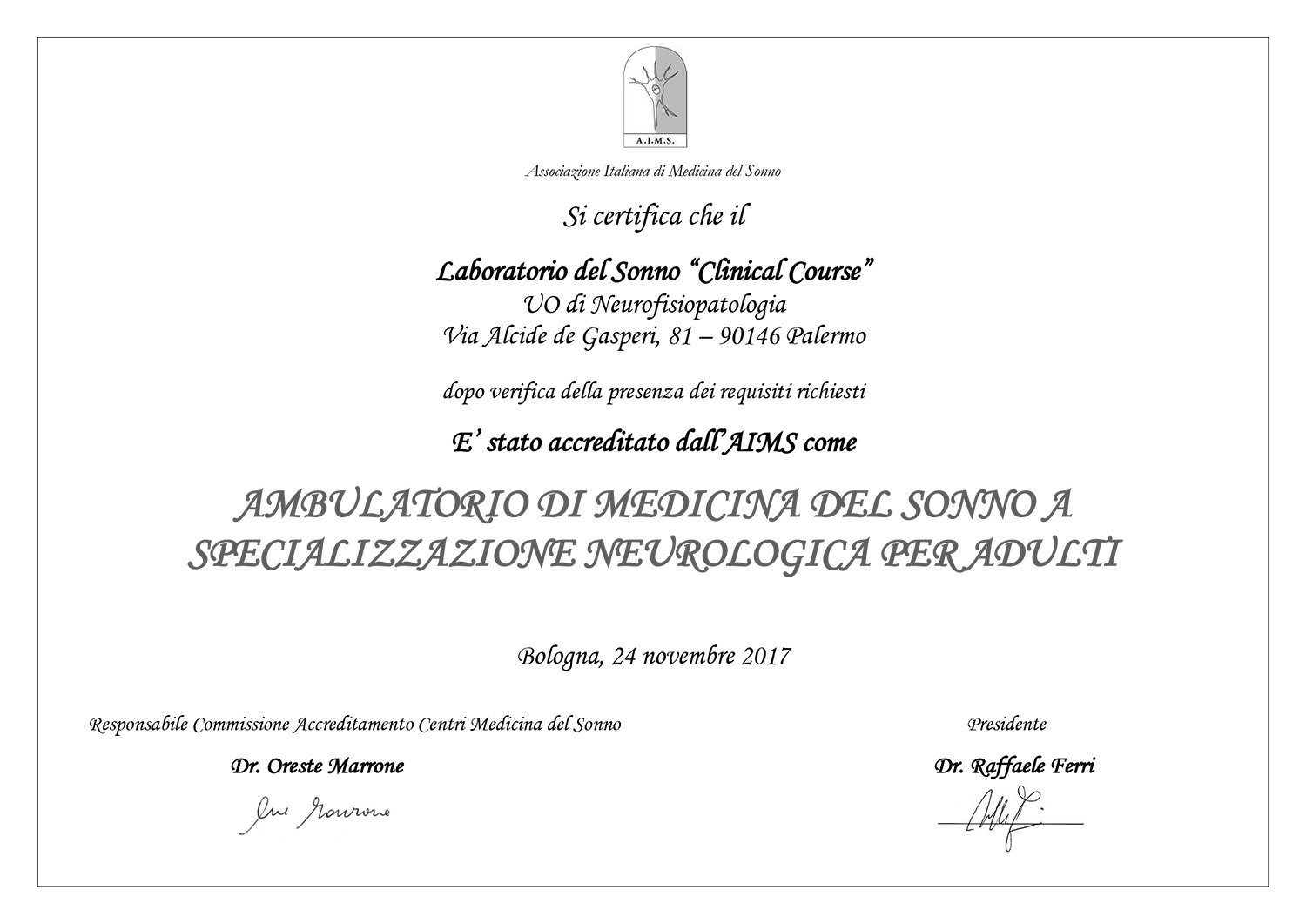 Certificato Clinical Course
